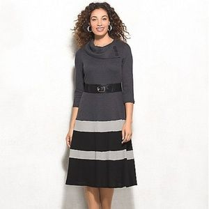 BELTED BUTTON-NECK Sweater DRESS New